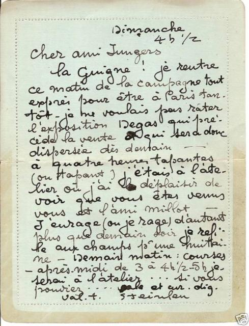 Letter to Theo Jungers (c. 1918)