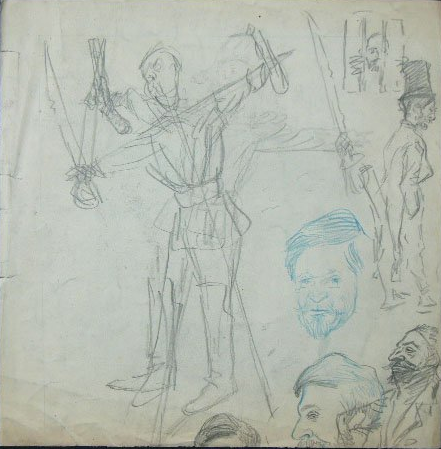 Sketch for L'Epouvantail Bourgeois (part of a larger double-sided sketch page offered at Gilden's auction, July 25, 2012)
