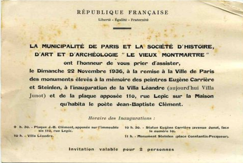 Invitation to dedication of Steinlen monument
