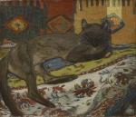 Chat couche sur le divan (1892) (Aponem auction, Mar. 29, 2014)
